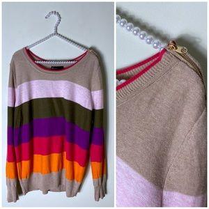 Lane Bryant Rainbow Stripe Lightweight Sweater Tan